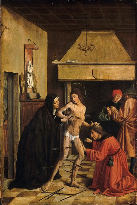 Josse Lieferinxe, French, documented 1493-1505/8 -- Saint Sebastian Cured by Irene. Philadelphia Museum of Art
