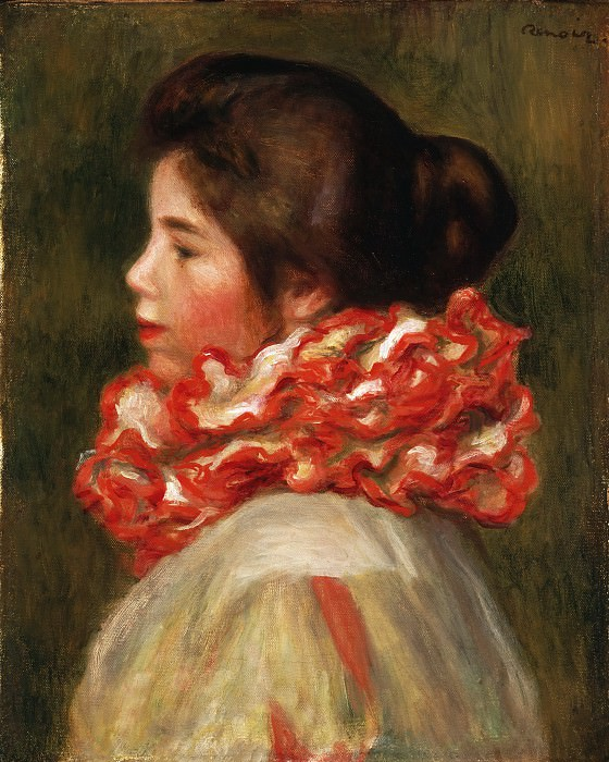Pierre-Auguste Renoir, French, 1841-1919 -- Girl in a Red Ruff. Philadelphia Museum of Art