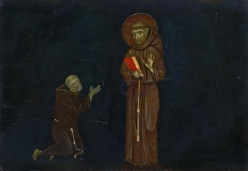 Master of Montelabate, Italian (active Perugia), documented 1285 -- Saint Francis of Assisi and a Franciscan Devotee. Philadelphia Museum of Art