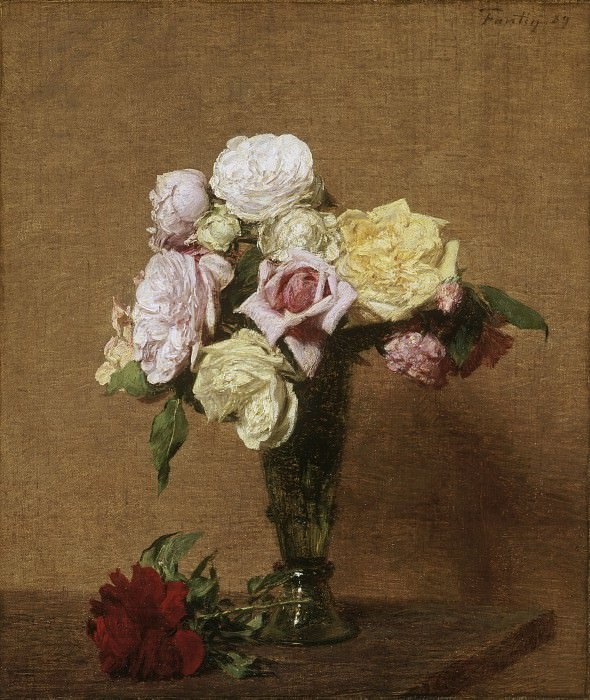 Ignace-Henri-Jean-Théodore Fantin-Latour, French, 1836-1904 -- Still Life with Roses in a Fluted Vase. Philadelphia Museum of Art