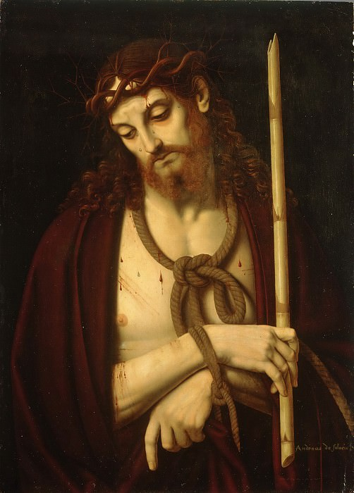 Andrea Solario, Italian, first dated work 1495, died 1524 -- Christ Bound and Crowned with Thorns. Philadelphia Museum of Art