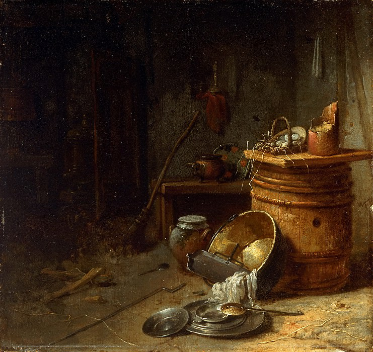 Willem Kalf, Dutch (active Amsterdam), 1619-1693 -- Kitchen. Philadelphia Museum of Art