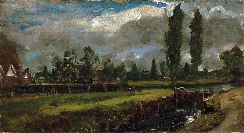 John Constable, English, 1776-1837 -- Landscape with a River. Philadelphia Museum of Art