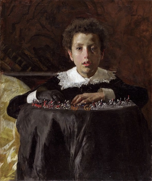 Antonio Mancini, Italian, 1852-1930 -- Young Boy with Toy Soldiers. Philadelphia Museum of Art