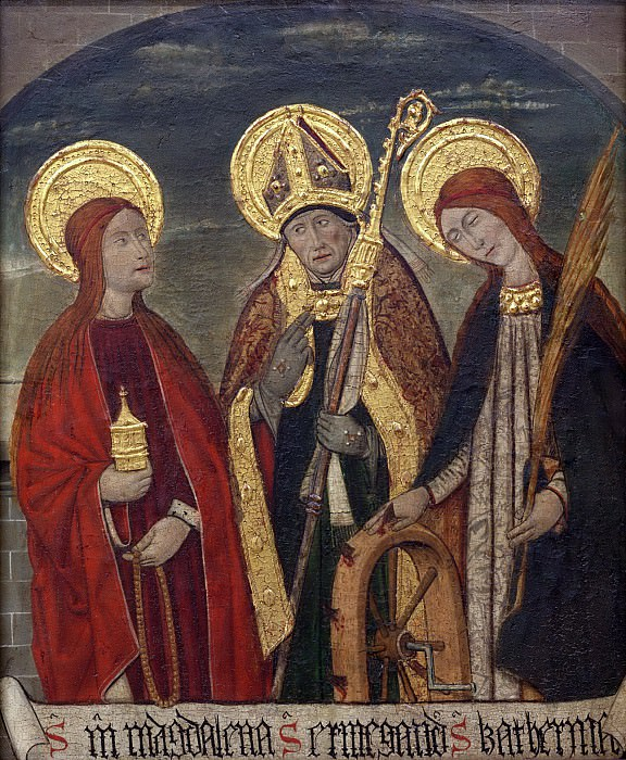 Pere Espalargues (Pere Espalargucs), Spanish (active Lérida), documented 1490 -- Saints Mary Magdalene, Ermengold, and Catherine of Alexandria. Philadelphia Museum of Art