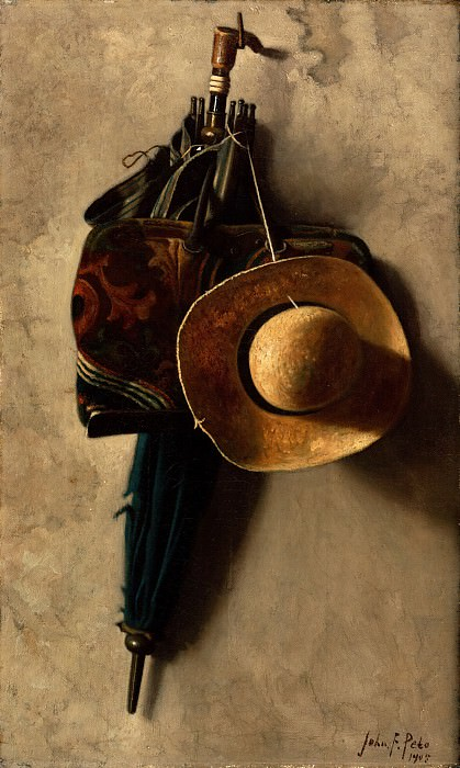John Frederick Peto, American, 1854-1907 -- Still Life with a Hat, an Umbrella, and a Bag. Philadelphia Museum of Art