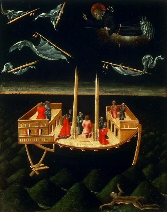 Джованни ди Паоло (Сиена ок1399-1482) -- Святой Николай Толентинский, спасающий корабль. Музей искусств Филадельфии