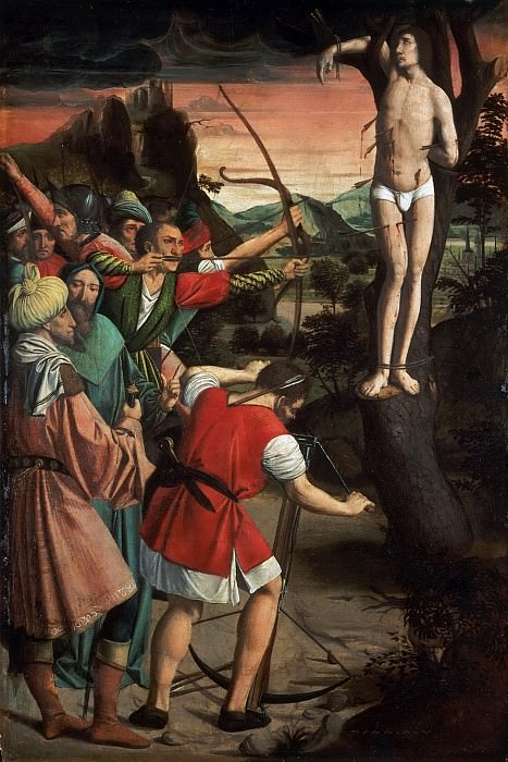 Лиферинкс, Йос (работал в Марселе и Эно 1493-1508) -- Святой Себастьян, пронзенный стрелами. Музей искусств Филадельфии
