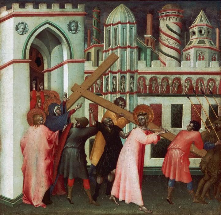 Giovanni di Paolo (Giovanni di Paolo di Grazia), Italian (active Siena), first documented 1417, died 1482 -- Christ on the Way to Calvary. Philadelphia Museum of Art