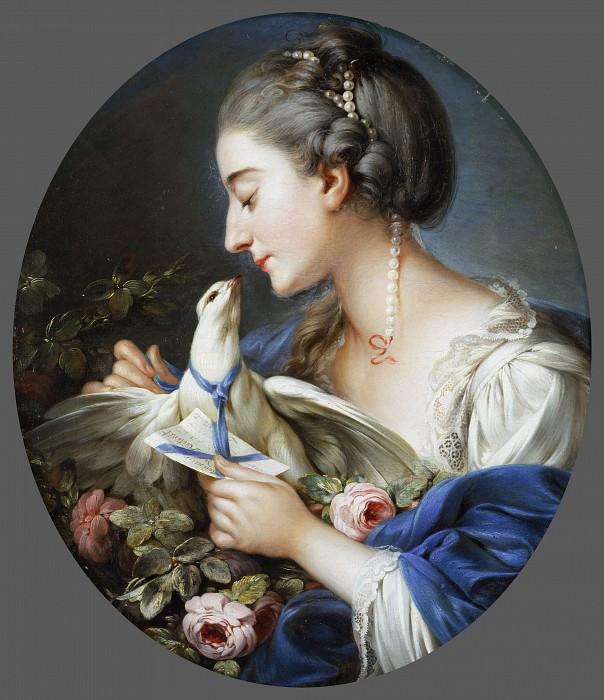 Манлих, Иоганн Христиан фон (1741-1822)(приписывается) -- Молодая женщина, привязывающая письмо к шее голубя. Музей искусств Филадельфии