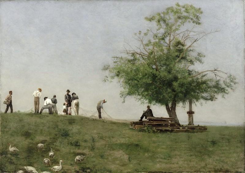 Thomas Eakins, American, 1844-1916 -- Mending the Net. Philadelphia Museum of Art