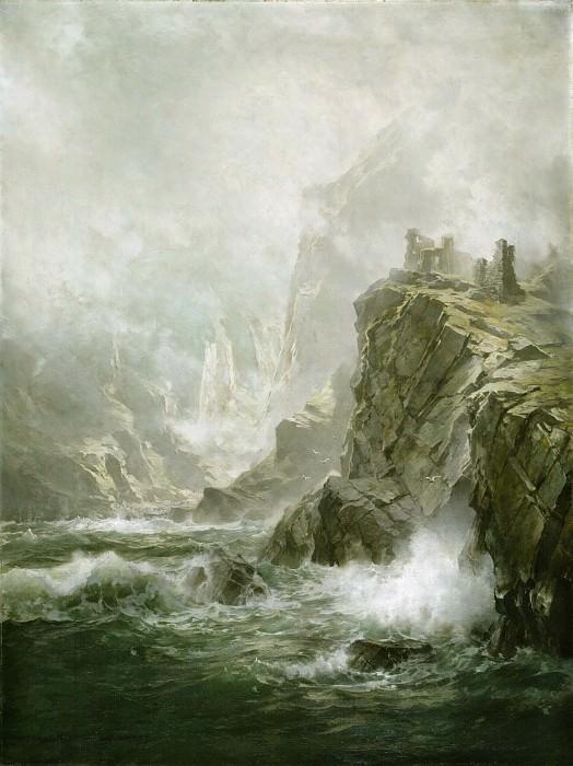 Ричардс, Уильям Трост (1833-1905) -- Руины Фасткастла, Бервикшир, Шотландия: Волчья скала из «Ламмермурской невесты» Вальтера Скотта. Музей искусств Филадельфии