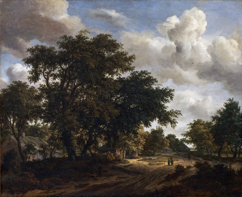 Meindert Hobbema, Dutch (active Amsterdam), 1638-1709 -- Landscape with a Wooded Road. Philadelphia Museum of Art