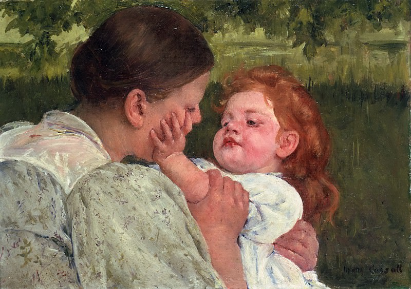 Mary Stevenson Cassatt, American, 1844-1926 -- Maternal Caress. Philadelphia Museum of Art
