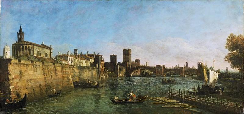 Беллотто, Бернардо (1720 Венеция - 1780 Варшава) - Вид Вероны с Кастельвеккьо и мостом Скалигеров. Музей искусств Филадельфии