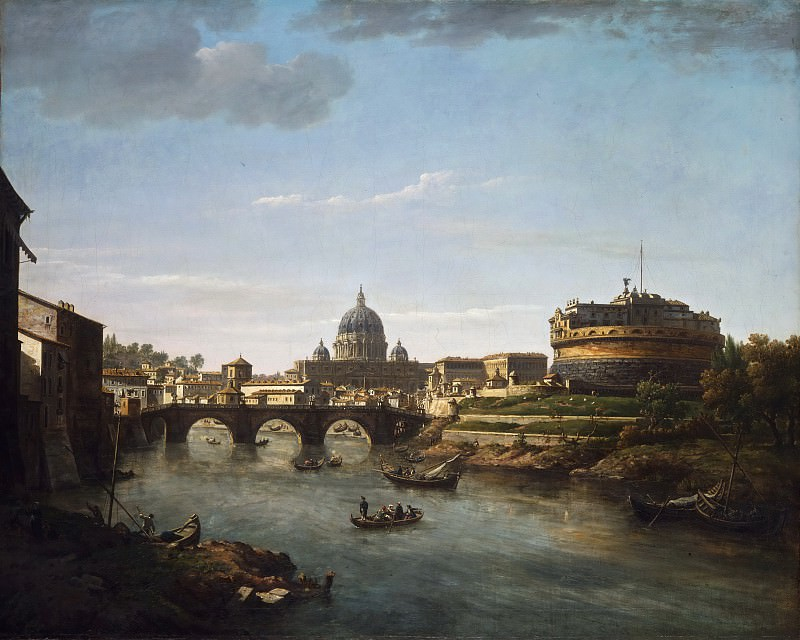William Marlow, English, 1740-1813 -- View of Rome from the Tiber. Philadelphia Museum of Art