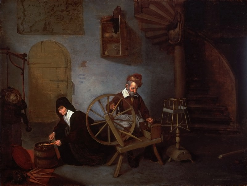 Quirijn Gerritsz. van Brekelenkam, Dutch (active Leiden), c. 1620-1668 -- A Wool Spinner and His Wife. Philadelphia Museum of Art