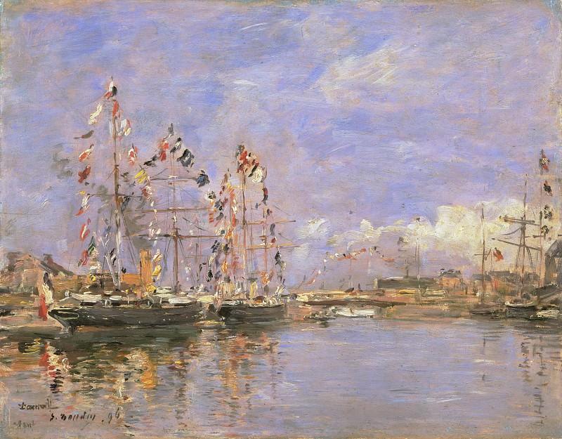 Eugène-Louis Boudin, French, 1824-1898 -- Deauville, Flag-Decked Ships in the Inner Harbor. Philadelphia Museum of Art