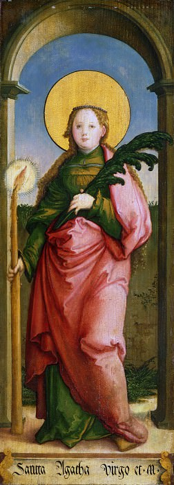 Master of Messkirch, German, active 1520-1540 -- Saint Agatha. Philadelphia Museum of Art
