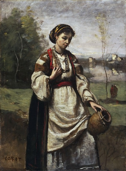 Jean-Baptiste-Camille Corot, French, 1796-1875 -- Gypsy Girl at a Fountain. Philadelphia Museum of Art