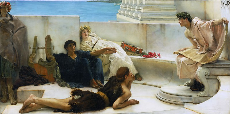 Sir Lawrence Alma-Tadema, English (born Netherlands), 1836-1912 -- A Reading from Homer. Philadelphia Museum of Art