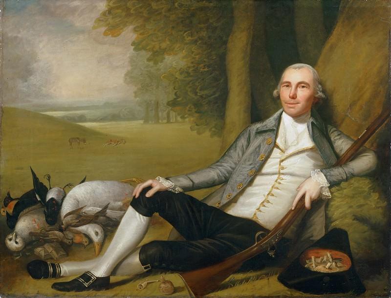 Ralph Earl, American, 1751-1801 -- Reclining Hunter. Philadelphia Museum of Art