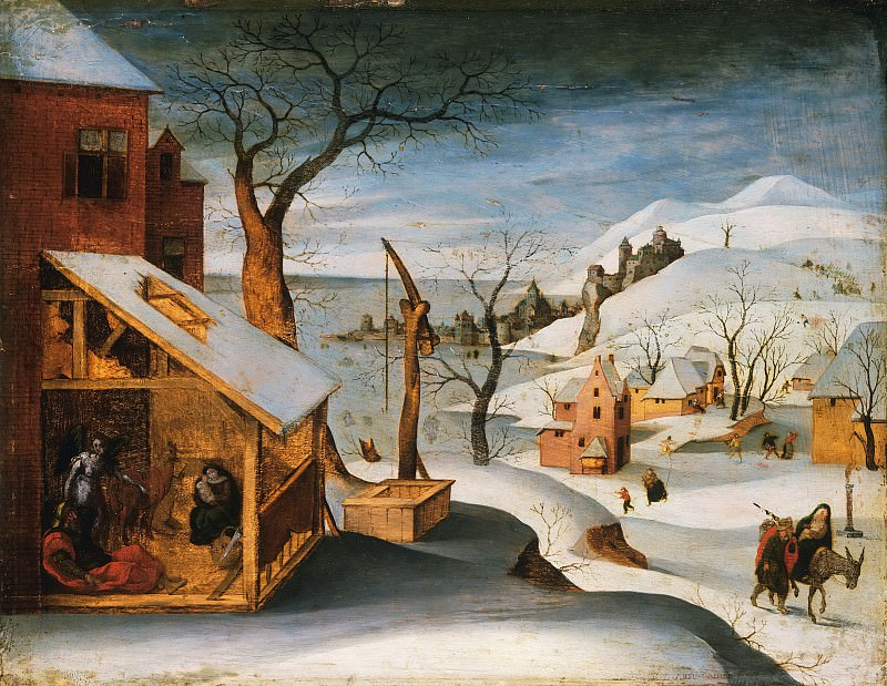 Abel Grimmer, Flemish (active Antwerp), active 1592-1619 -- Winter Landscape with the Angel Appearing to Saint Joseph, the Massacre of the Innocents, and the Flight into Egypt. Philadelphia Museum of Art