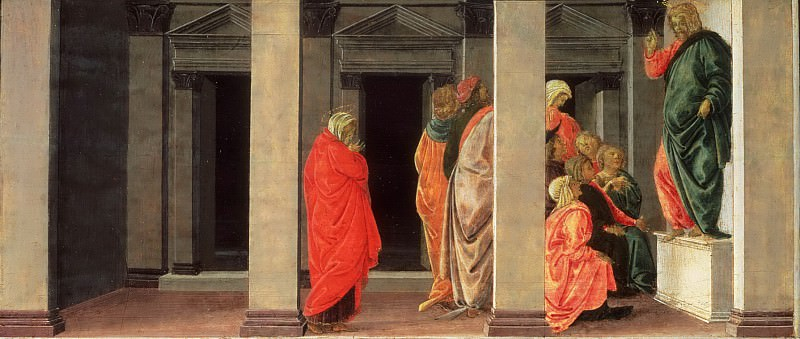Sandro Botticelli (Alessandro di Mariano Filipepi), Italian (active Florence and Rome), 1445-1510 -- Saint Mary Magdalene Listening to Christ Preach. Philadelphia Museum of Art