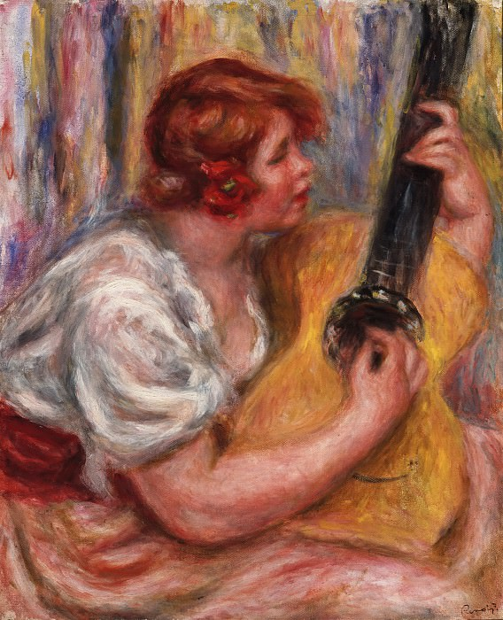 Pierre-Auguste Renoir, French, 1841-1919 -- Woman with a Guitar. Philadelphia Museum of Art
