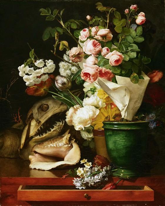 Antoine Berjon, French, 1754-1843 -- Still Life with Flowers, Shells and Shark's Head. Philadelphia Museum of Art