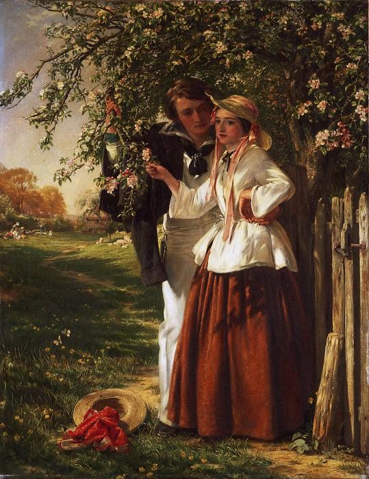 John Callcott Horsley, English, 1817-1903 -- Lovers under a Blossom Tree. Philadelphia Museum of Art