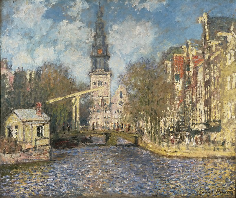 Claude Monet, French, 1840-1926 -- The Zuiderkerk, Amsterdam (Looking up the Groenburgwal). Philadelphia Museum of Art