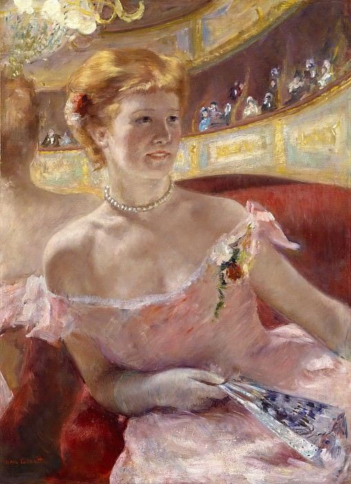 Mary Stevenson Cassatt, American, 1844-1926 -- Woman with a Pearl Necklace in a Loge. Philadelphia Museum of Art
