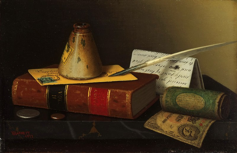 William Michael Harnett, American, 1848-1892 -- Still Life with a Writing Table. Philadelphia Museum of Art