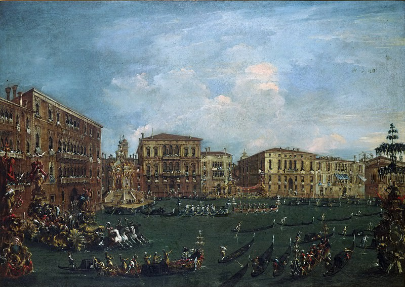 Francesco Guardi, Italian (active Venice), 1712-1793 -- A Regatta on the Grand Canal. Philadelphia Museum of Art