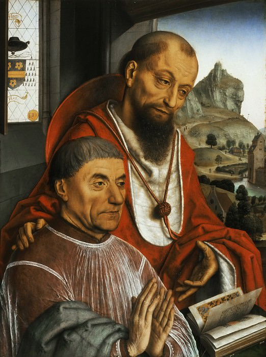 Simon Marmion, Netherlandish (active Amiens, Lille, Tournai, and Valenciennes), first documented 1449, died 1489 -- Saint Jerome and a Cardinal Praying. Philadelphia Museum of Art