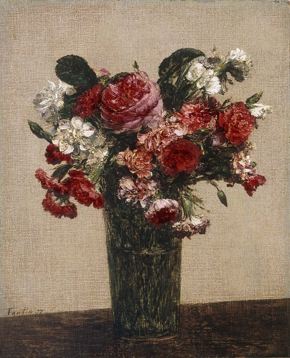 Ignace-Henri-Jean-Théodore Fantin-Latour, French, 1836-1904 -- Still Life with Roses and Asters in a Glass. Philadelphia Museum of Art