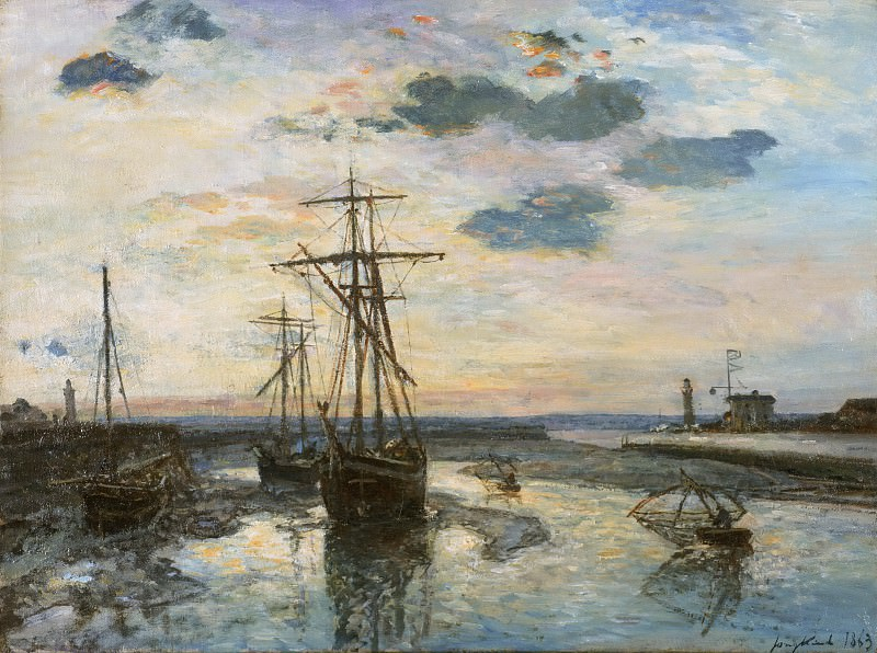 Johan Barthold Jongkind, Dutch (active The Hague, Paris, and Rotterdam), 1819-1891 -- Port of Honfleur at Evening. Philadelphia Museum of Art