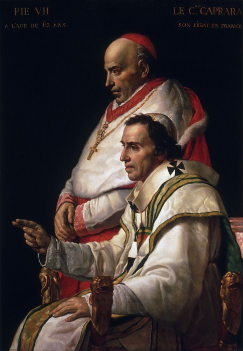 Portrait of Pope Pius VII and Cardinal Caprara. Jacques-Louis David