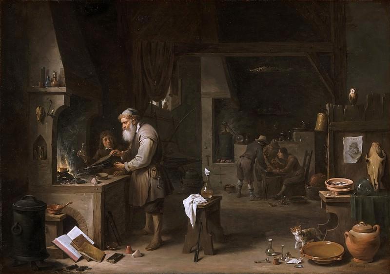 David Teniers II, Flemish (active Antwerp and Brussels), 1610-1690 -- The Alchemist. Philadelphia Museum of Art