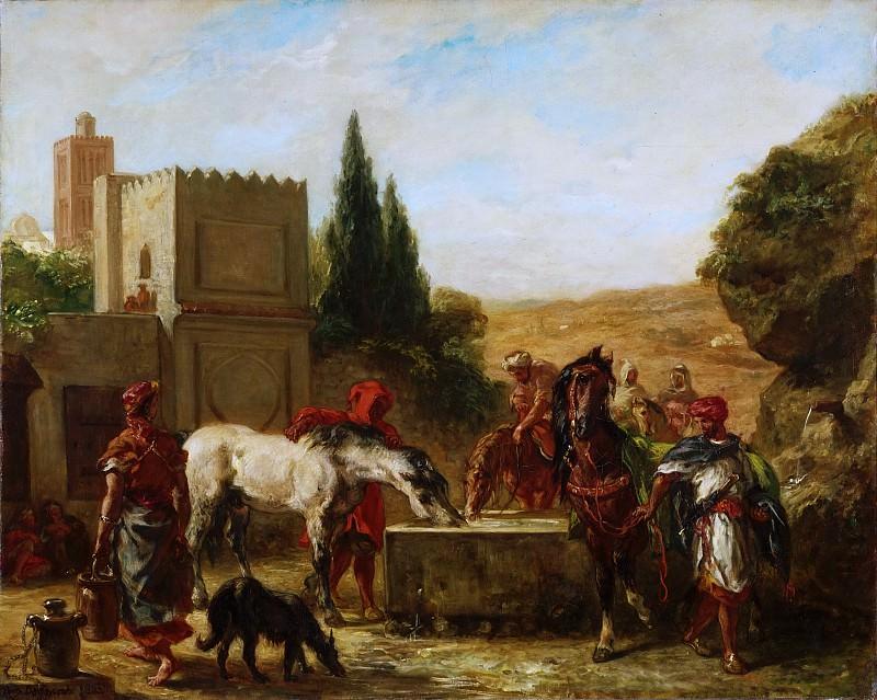 Ferdinand-Victor-Eugène Delacroix, French, 1798-1863 -- Horses at a Fountain. Philadelphia Museum of Art