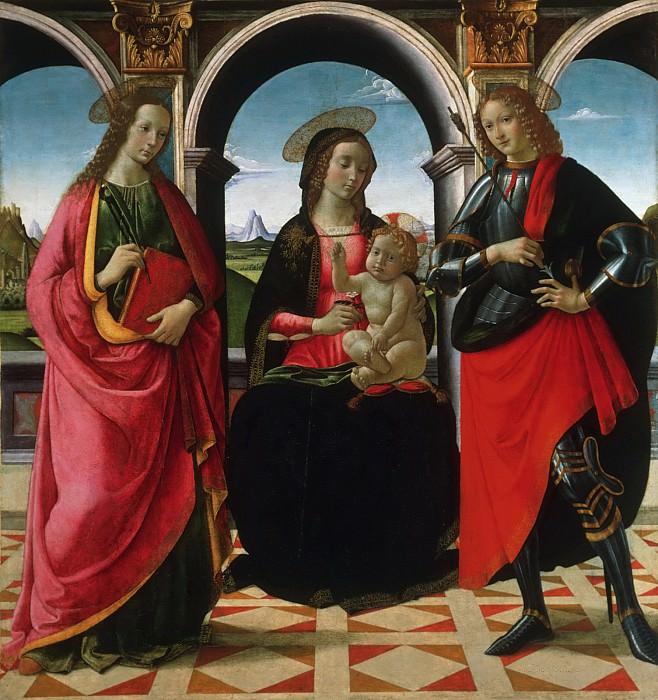 David Ghirlandaio (David Bigordi), Italian (active Florence), 1452-1525 -- Virgin and Child, with Saints Apollonia and Sebastian. Philadelphia Museum of Art