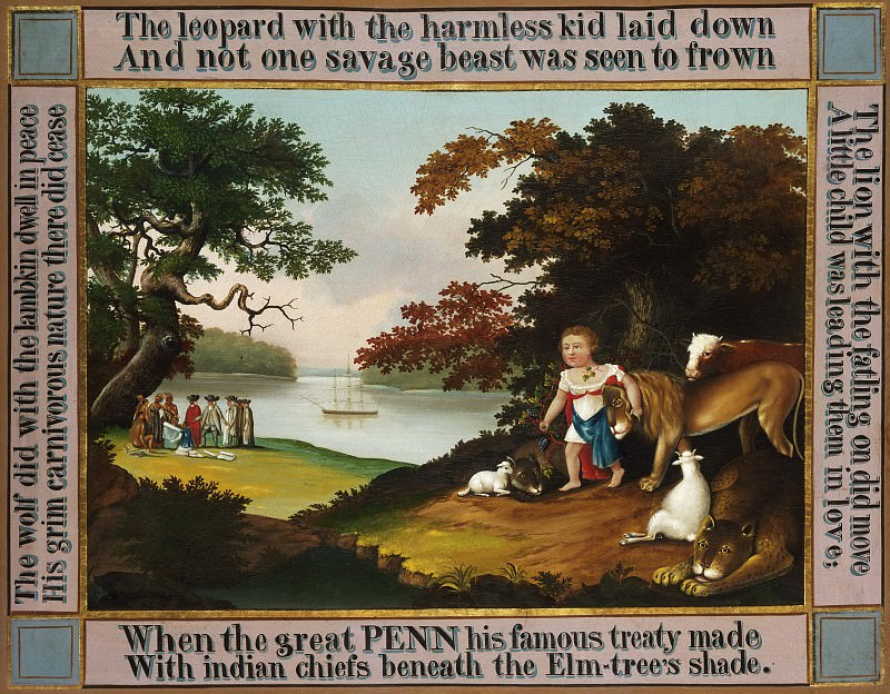 Edward Hicks, American, 1780-1849 -- The Peaceable Kingdom. Philadelphia Museum of Art