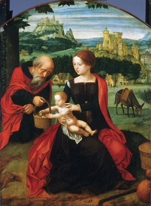Master of the Female Half-Lengths, Netherlandish (active Antwerp), active c. 1520-c. 1540 -- Rest on the Flight into Egypt. Philadelphia Museum of Art