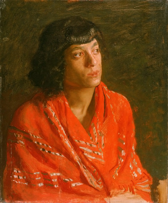 Thomas Eakins, American, 1844-1916 -- The Red Shawl. Philadelphia Museum of Art