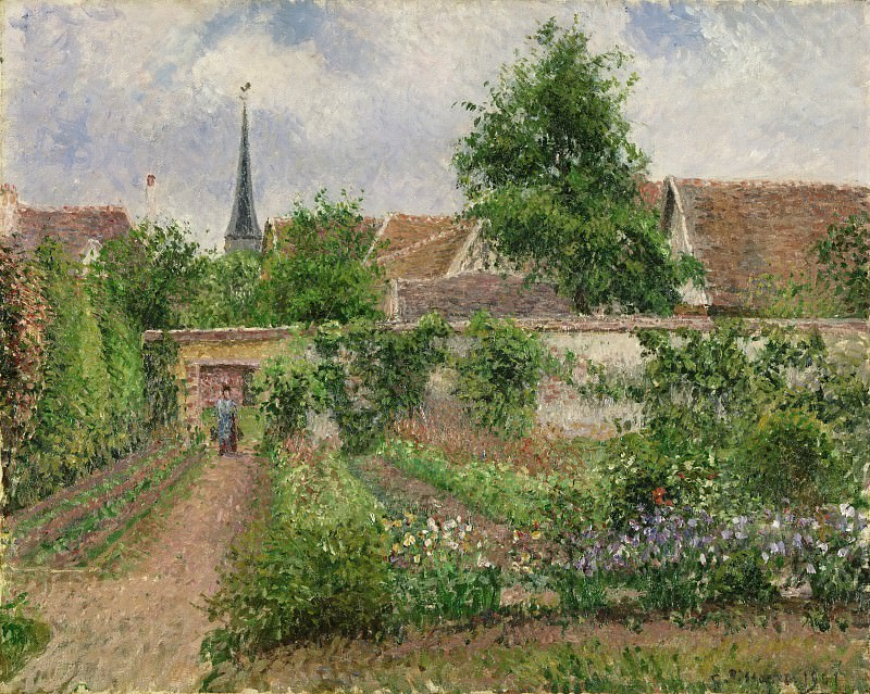Camille Pissarro, French, 1830-1903 -- Vegetable Garden, Overcast Morning, Eragny. Philadelphia Museum of Art