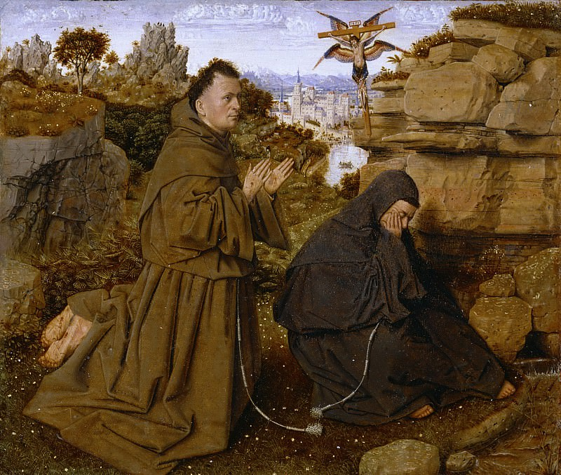 Attributed to Jan van Eyck, Netherlandish (active Bruges), first documented 1422, died 1441 -- Saint Francis of Assisi Receiving the Stigmata. Philadelphia Museum of Art