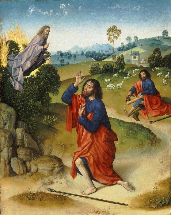 Attributed to Dierick Bouts, Netherlandish (active Louvain), first securely documented 1447, died 1475 -- Moses and the Burning Bush, with Moses Removing His Shoes. Philadelphia Museum of Art
