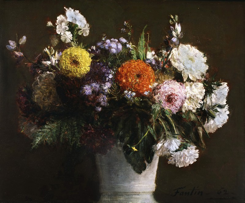 Ignace-Henri-Jean-Théodore Fantin-Latour, French, 1836-1904 -- Still Life with Chrysanthemums. Philadelphia Museum of Art