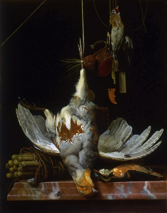 Hendrik de Fromantiou, Dutch (active Maastricht, after 1670 active largely in Berlin), 1633-1694 -- Still Life with Birds. Philadelphia Museum of Art